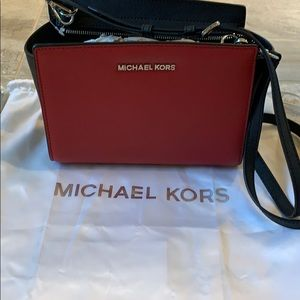 Michael Kors red and black crossbody purse